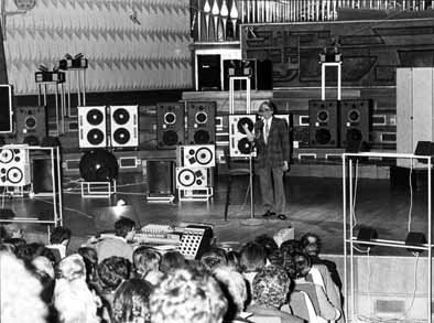 History of electronic music - Electronic Music of Brainvoyager - Pierre Schaeffer presenting the Acousmonium (1974)
